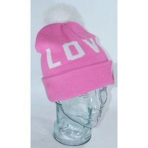 Disney Pom Pom Beanie Pink Love Spell Out
